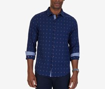 Nautica Mens Slim-Fit Dobby Anchor Shirt, Marine Blue
