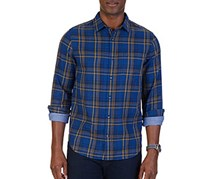 Men's Slim-Fit Double-Layer Plaid Shirt, Estate Blue