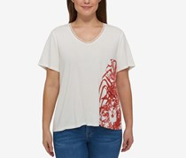 Tommy Hilfiger Plus Size Cotton Printed T-Shirt, White/Red