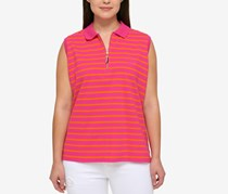 Tommy Hilfiger Plus Size Striped Polo Top, Dark Pink