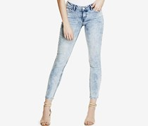 Guess Low-Rise Acid Wash Skinny Jeans, Light Wash Towel Bleach