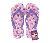 DC Comics Gotham Big Girls Polka Dots Flip Flops, Purple/Lavender