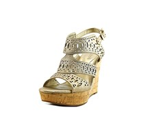 Guess Vannora Open Toe Leather Wedge Heel, Light Natural