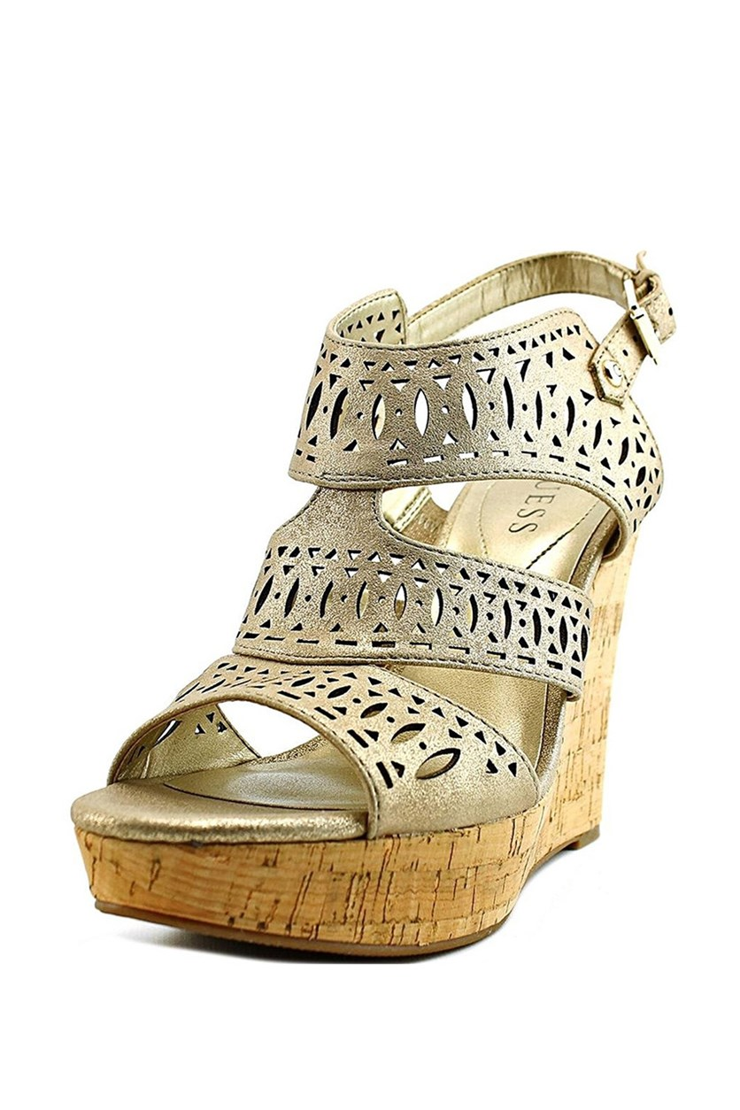 Vannora Open Toe Leather Wedge Heel, Light Natural