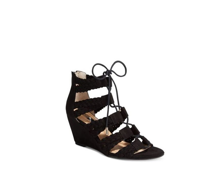 Witley Lace-Up Wedge Sandals, Black