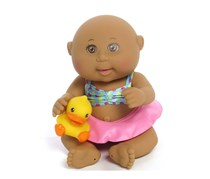 Cabbage Patch Kids Tiny Newborn Splash 'n Fun (Ethnic, Brown Eyes), Pink/Blue