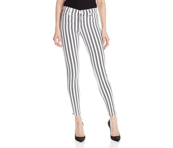 Hudson Nico Midrise Skinny Striped Pants,Charcoal/White