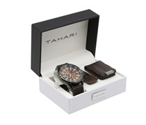 Tahari Men's Watch and Keychain Set, Brown/Gunmetal