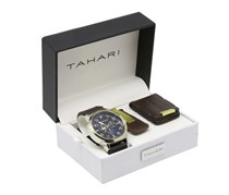 Tahari Men's Watch And Keychain Set, Brown/Gold