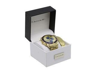 Tahari Men's Watch And Bracelet Set, Gold/Blue