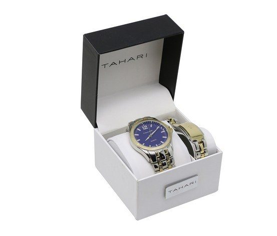 Men's Two Tone Watch And Bracelet Set, Silver/Gold