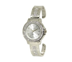 Tahari Womens Quartz Crystal Bracelet Watch, Silver