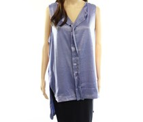 Ro & De Womens Longline Collared Blouse, Washed Blue