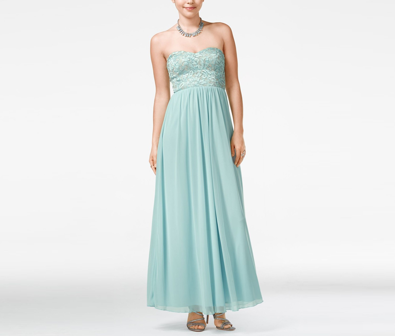 Speechless Strapless Lace Embellished, Antique Blue