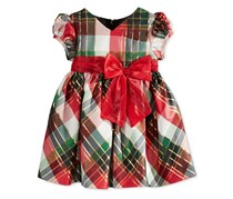 Bonnie Baby Baby Girls Plaid Taffeta Dress, Red