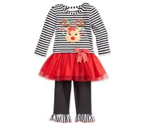 Baby Girls' 2 Piece Reindeer Tutu Tunic & Leggings Set, Red/Black