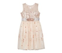 Bonnie Jean Illusion-Neck Glitter-Dot Dress, Rose Gold