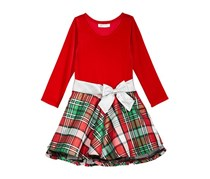 Bonnie Jean Little Girls Velvet & Plaid Drop-Waist Party Dress, Red