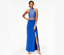Juniors Two-Piece Sequined Gown, Royal