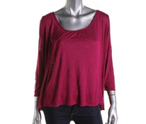 NY Collection Slub Hi-Low Casual Top, Purple