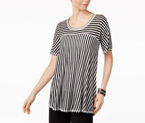 NY Collection Women Mixed-Stripe High-Low Top, Black/White