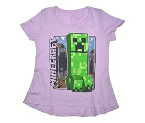 Mojang Girls Minecraft High Low Creeper Shirt, Purple