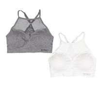 Xoxo Womens 2Pack Seamless Bralettes, White/Grey