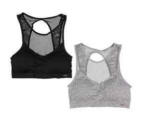 Xoxo Womens 2Pack Seamless Bralettes, Grey/Black