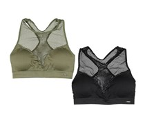Xoxo Womens 2Pack Seamless Bralettes, Olive/Black