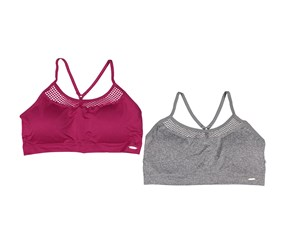 XOXO Women's 2 Pc. Sports Bra, Maroon/Grey