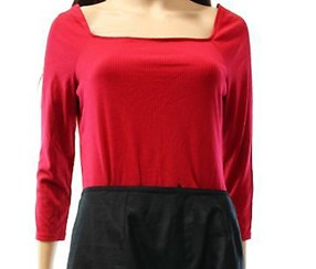 Ny Collection Off The Shoulder Three Quater Sleeve Top, Red