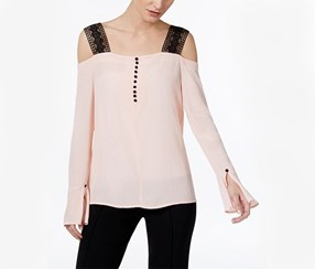 YYIGAL Cold-Shoulder Lace-Strap Top, Blush