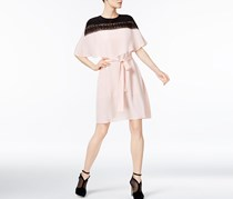 YYIGAL Belted Lace-Yoke Cape Dress, Blush