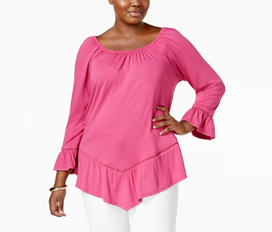 Ny Collection Plus Size Off-The-Shoulder Top, Dark Pink