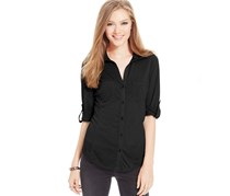 Almost Famous Juniors Ribbed Panel Buttoned Top,Black
