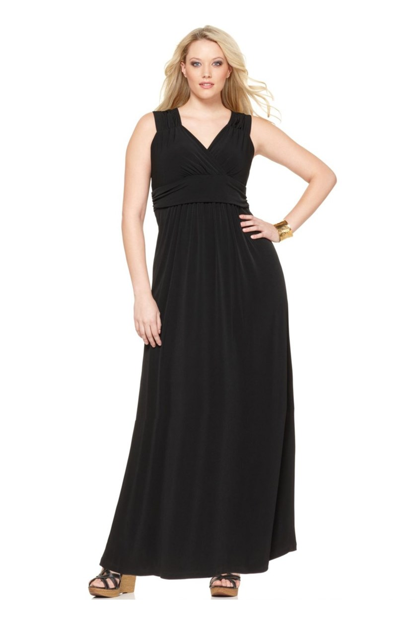Women's Plus Size Sleeveless Ruched Dress, Black