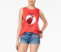 Freeze 24-7 Juniors Sequin Graphic Tank, Red