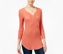 Almost Famous Juniors' Waffle-Knit Top with Lace, Back