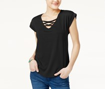 Crave Fame Juniors High-Low Lace-Up T-Shirt, Black