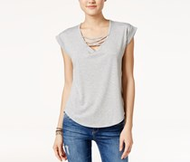 Crave Fame Juniors High-Low Lace-Up T-Shirt, Heather Grey