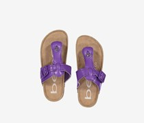 Girls Thong with Matching Buckle Sandals, Neon Purple