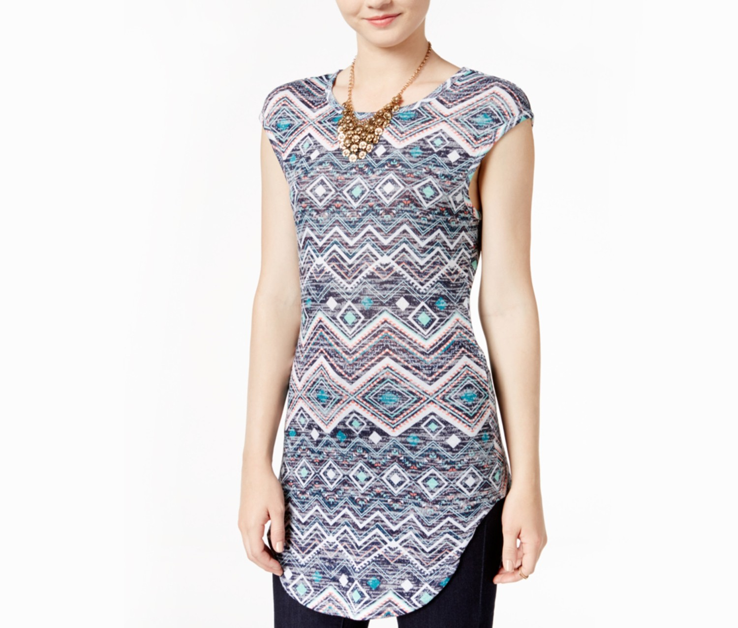 Almost Famous Juniors Printed Tunic, Multi