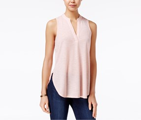 Almost Famous Juniors' Cutout-Back Lace-Trim Top, Blush