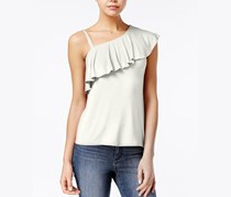 Almost Famous Juniors' Ruffled One-Shoulder Top, Gardenia
