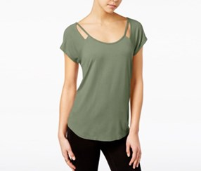 Almost Famous Juniors Strappy Cutout T-Shirt, Olive