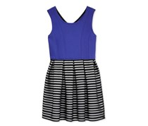 Bonnie Jeans Girls' Cobalt Knit Top Dress, Royal/Black
