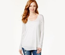 Dkny Jeans Striped Long Sleeve Top,Polar Cream