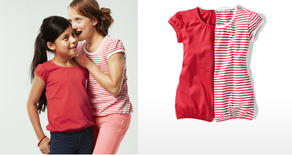 Girls Shirts,Short Sleeves, 2 pcs