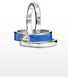 Women's FJ-ring, set of 3, silver/blue