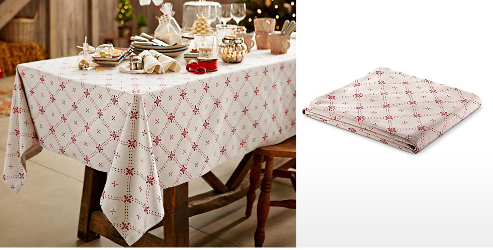 Table Cloth, Double, Off White Printed
